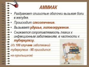 Пары аммиака влияние на человека