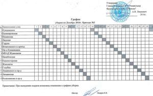 График уборки помещения на месяц образец