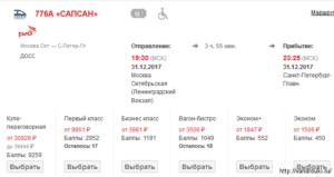 Сапсан москва санкт петербург льготы на билеты