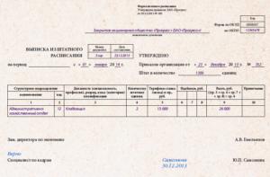 Выписка из штатного расписания без окладов образец в ворде