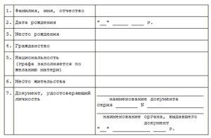 Заявление о рождении ребенка форма 1 бланк заполнения