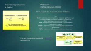 Сумма материальных затрат формула
