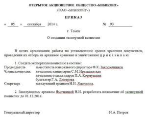 Образец приказа о создании экспертной комиссии по приемке компьтерной техники