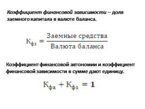 Норма коэффициент финансовой зависимости формула по балансу
