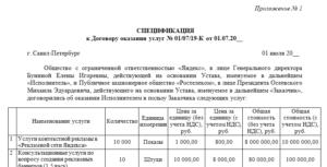 Спецификация к договору оказания юридических услуг образец