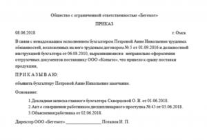 Проект приказа о наказании за халатное отношение к работе