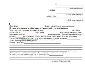 Форма заявления о прекращении выплаты алиментов