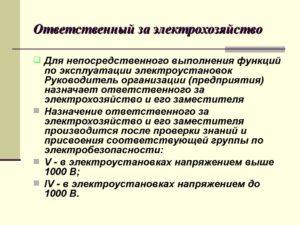 Инструкция по от ответственного за электрохозяйство в доу