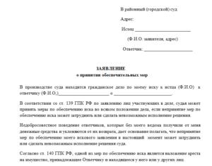 Заявление в суд об отмене обеспечительных мер